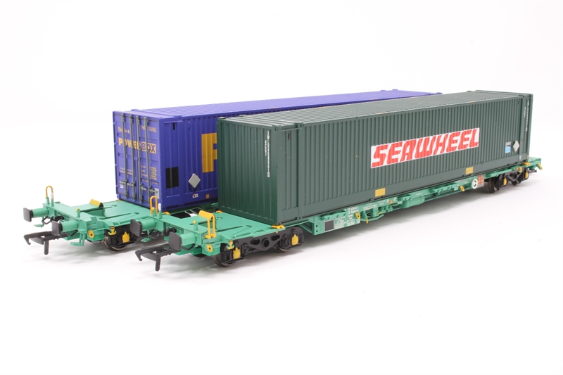 Intermodal Bogie Flat Wagons 33 70 4938 713 3 In Ews Green Livery With Two 45ft Containers In Ecs European Container Services Maroon Pwru450209 2
