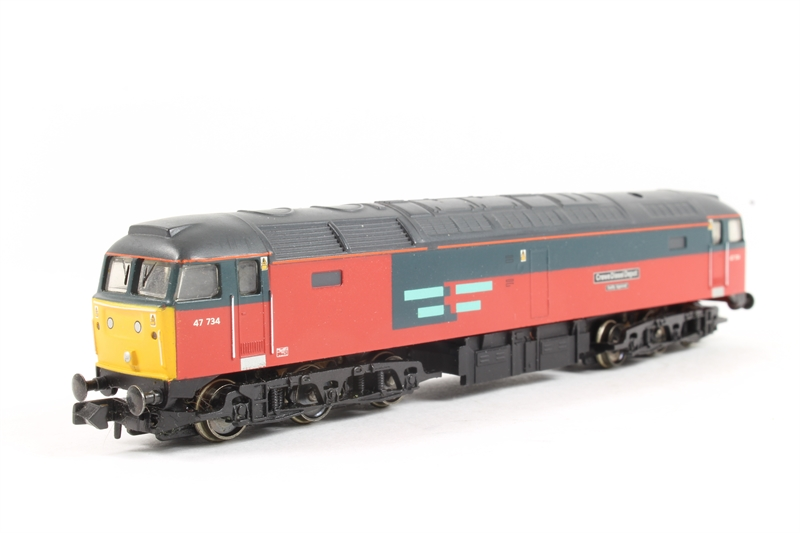 370-125loco-U Class 47 47734 and 3 post coaches - split from 370