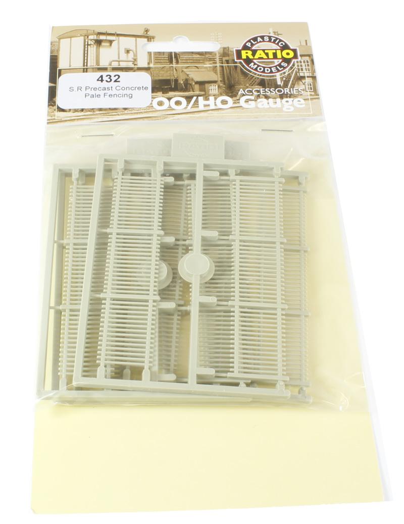 432 Ratio SR Precast Concrete Pale Fencing OO Gauge Plastic Kit