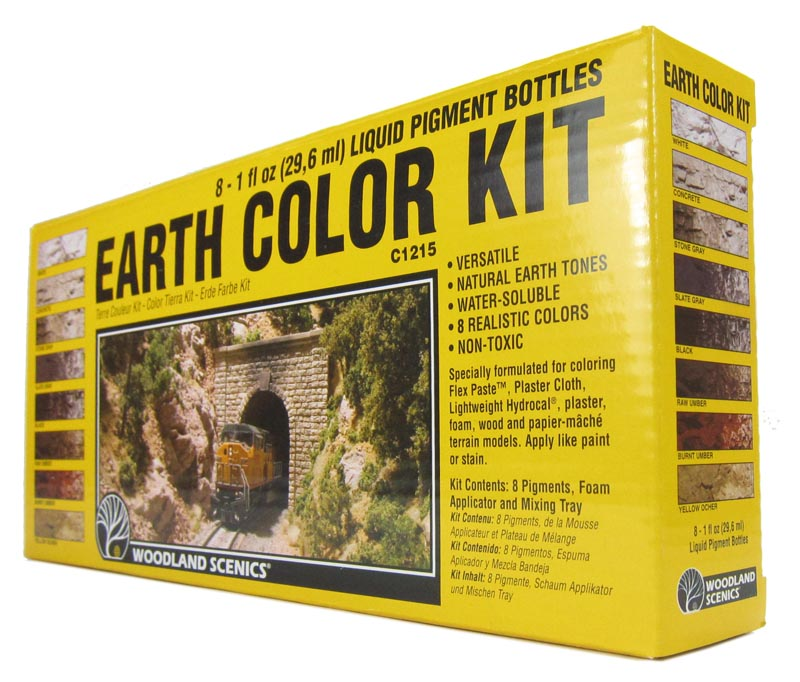 Liquid pigment earth color kit with 8 colours, applicator & palette