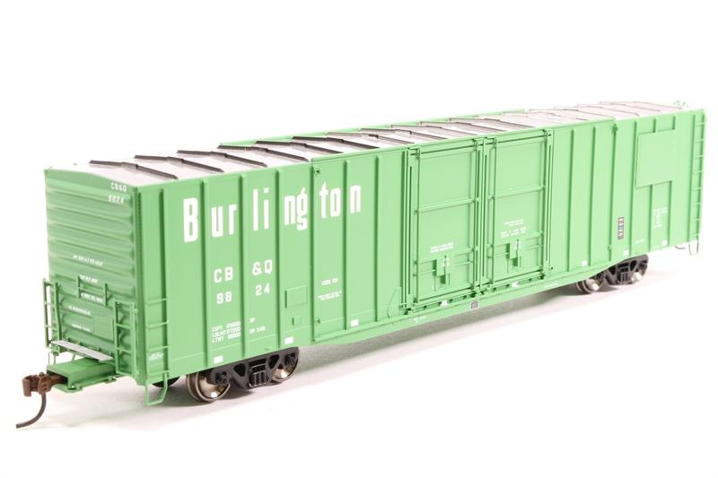 60' PS Auto Parts Boxcar #9824 of the Burlington Railroad