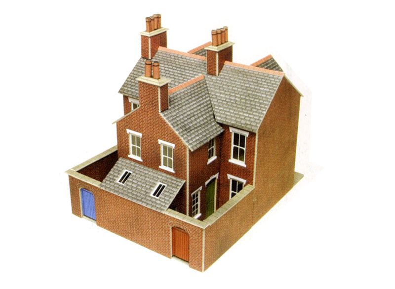 Metcalfe po261 pair of red brick terraced for Brick kit homes