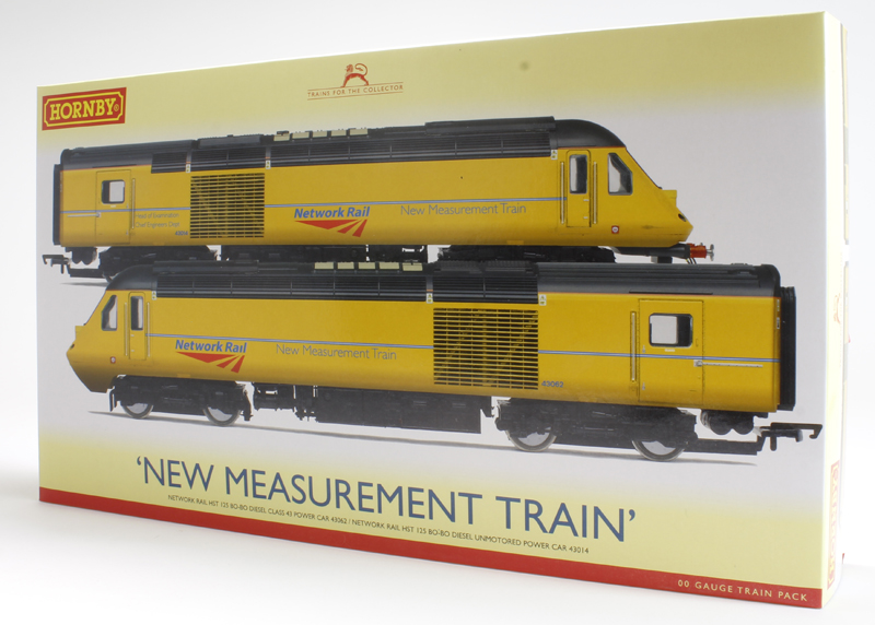 Hornby R3366 Class 43 HST Power (43062) & dummy (43014) in Network Rail new measurement train yellow