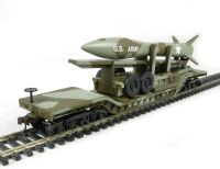 Bachmann USA 18345 American 52' centre depressed flat car in Olive Drab Military livery with missile