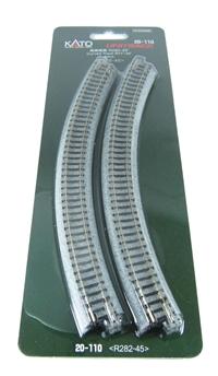 Kato 20-110 Ground Level Radius 282mm Curved Track 45 Deg (x4)