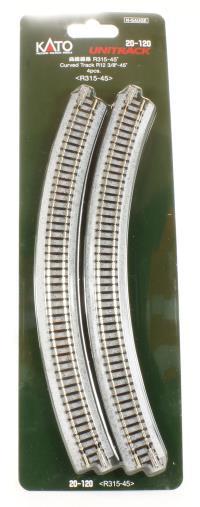 Kato 20-120 Ground Level Radius 315mm Curved Track 45 Deg