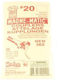 "Kadee 20KADEE NEM-362 Extra Long Coupler - 11.68 mm (29/64"") (w/o Draft Gear Boxes) (2 pair)"