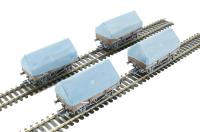 Bachmann Branchline 33-084^ Pack of 4 5 plank china clay wagon with hood in BR bauxite - weathered