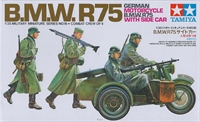 Tamiya 35016 BMW R75 with Side Car, driver, rider & 2 walking figures