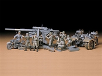 Tamiya 35017 88mm Gun Flak 36/37 with limbers, BMW R75 motorbike and 9 figures.