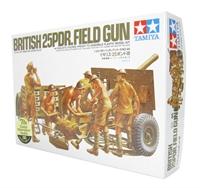 Tamiya 35046 British 25pdr field gun with limber & 6 figures in desert uniforms