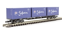 Graham Farish 373-458 63ft  bogie wagon with 3 20ft containers 'Safmarine'