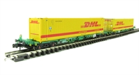 "Graham Farish 377-355 Intermodal Bogie Wagons With Two 45ft Containers ""DHL"""