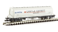 "Graham Farish 377-676A 100 Tonne JPA Cement Wagon ""VTG Castle Cement"" in grey"