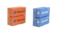 Graham Farish 379-353A 20ft container 'Hapag-Lloyd & Hanjin' x 4