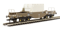 Bachmann Branchline 38-345A^ FNA Nuclear Flask Wagon with flat floor & round buffers in standard buff livery - Flask 9
