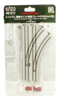 Kato 40-211 UniTram Street Track Electric Turnout 180mm Right