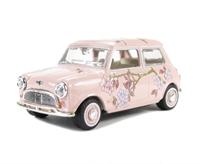 Oxford Diecast 43MIN014 Mini Car Pink Floral (M & S Twiggy advert).