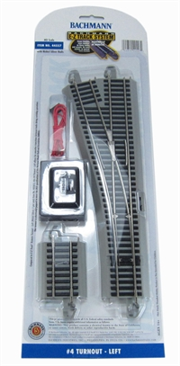 Bachmann USA 44557 Nickel Silver #4 Turnout - Left (1/Card)