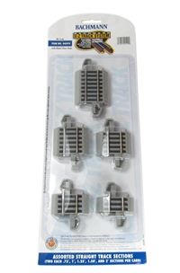 "Bachmann USA 44592 Nickel Silver E-Z Track Connector Assortment - Contains 2 Each  .75"""", 1"""", 1.25"""", 1.5"""" And 2"" Straight (Card)"