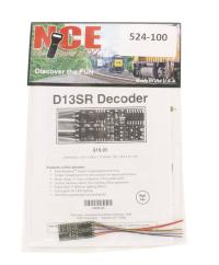"""NCE 524-100 4-function 1.3A (2A peak) D13SR wired decoder (Size: 1.35"""" x 0.63"""" x 0.110"""" - very thin)"""