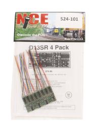 """NCE 524-101 4-function 1.3A (2A peak) D13SR wired decoder (Size: 1.35"""" x 0.63"""" x 0.110"""" - very thin) x4"""