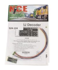 "NCE 524-124 4-function 1.3A (2A peak) D13SRJ decoder with wiring harness (1.50"" x 0.63"" x 0.25"")"