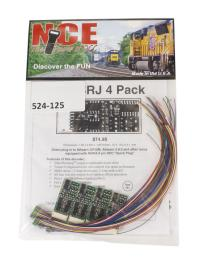 "NCE 524-125 4-function 1.3A (2A peak) D13SRJ decoder with wiring harness (Size: 1.50"" x 0.63"" x 0.25"") x4"