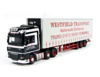 "Oxford Diecast 76DAF02CS DAF FTGXF105 curtainside in ""Westfield Transport"" livery"