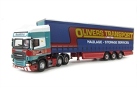 "Oxford Diecast 76SCA07CS Scania R Topline curtainside in ""Olivers Transport"" livery"