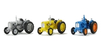 Oxford Diecast 76SET10A Fordson Tractor triple set with blue, yellow & grey variants