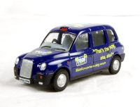 """Oxford Diecast 76TX4003 TX4 Taxi in """"Real Radio"""" livery"""