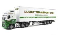 "Oxford Diecast 76VOL01BX Volvo FH Box Trailer ""Lucey Transport"""