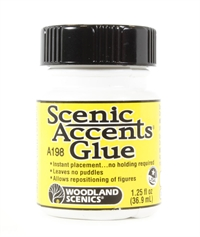 Woodland Scenics A198 Scenic Accents glue. Stays tacky - prevents snapping of figures