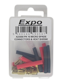 Expo Drills & Tools A23000EXPO Micro Spade Connectors With Heat Shrink - Pack of 10