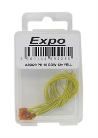 Expo Drills & Tools A25029 10 x Yellow 3.2mm Grain of Wheat 12-16 Volt bulb for Colour Light Signals