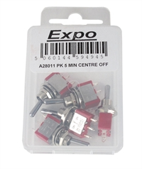 Expo Drills & Tools A28011 5 x Single pole double throw centre off switches