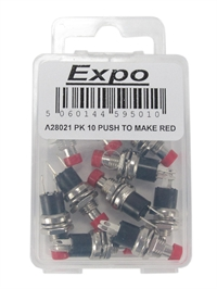 Expo Drills & Tools A28021 Push to make switch red x 10