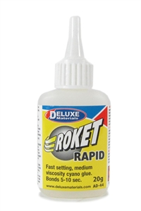 Deluxe Materials AD-44 Roket Cyano - Rapid - 20g - Sets In 5-10 Seconds - Medium Viscosity