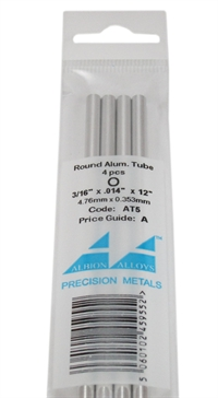 "Albion Alloys AT5 Aluminium Tube 3/16"" Per 5"