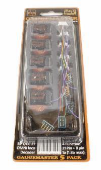 Gaugemaster Controls BPDCC27 8 & 21-pin 4-function 1A (1.8A peak) small OMNI decoder (measures 23l x 27w x 10d mm) x 5