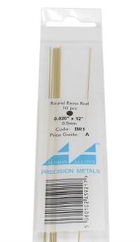 """Albion Alloys BR1 Brass Rod 0.020"""" Per 10"""