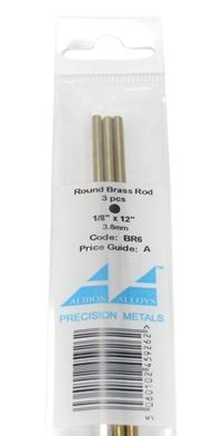 """Albion Alloys BR6 Brass Rod 1/8"""" Per 3"""