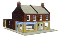 Superquick C7 Redbrick corner terraced shops (low relief)