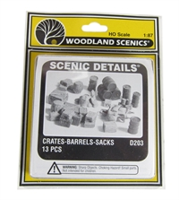 Woodland Scenics D203 Crates, Barrels & Sacks x 13