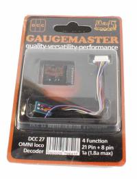 Gaugemaster Controls DCC27 8 & 21-pin 4-function 1A (1.8A peak) small OMNI decoder (measures 23 x 27 x 10mm)