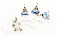 DCC Concepts DCP-CMS-G Cobalt DPDT switch pack for panel mounting - with 3 x pre-wired DPDT & 6 x green chrome-mounted LEDs