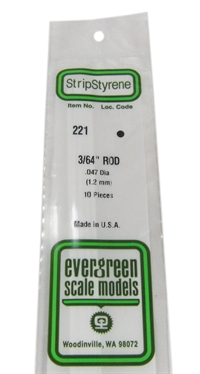 "Evergreen Plastics EG221 3/64 0.047"" Rodding 10 per pack"