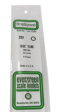 """Evergreen Plastics EG223 3/32 0.093"""" Tubes 6 per pack"""