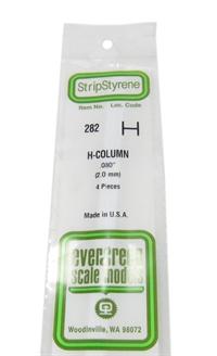 """Evergreen Plastics EG282 0.08"""" H beam section 4 per pack"""